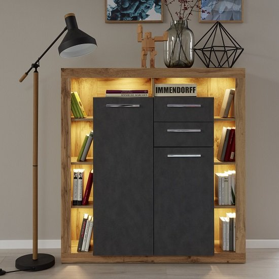 View Monza wooden highboard in wotan oak and matera with led
