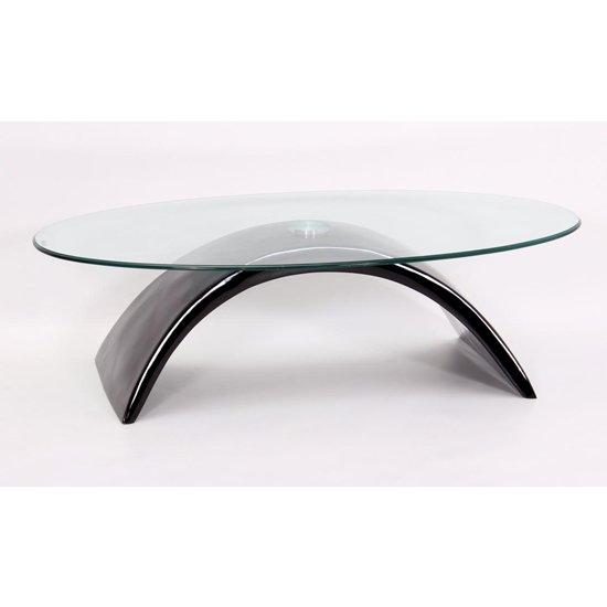 View Morgan fibre glass glass coffee table in black high gloss