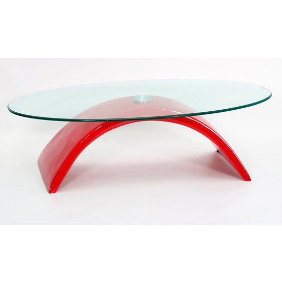 View Morgan fibre glass glass coffee table in high gloss red