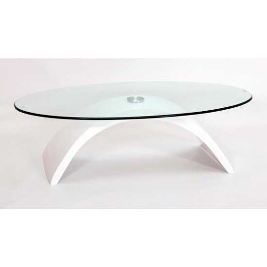 View Morgan fibre glass glass coffee table in white high gloss