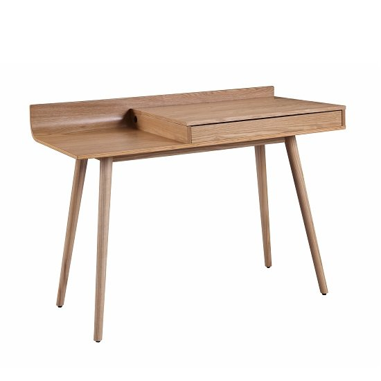 View Morvik wooden computer desk in ash with lift up lid