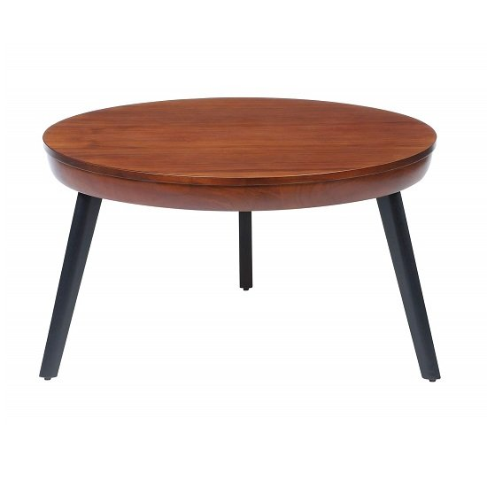 View Morvik wooden coffee table round in walnut