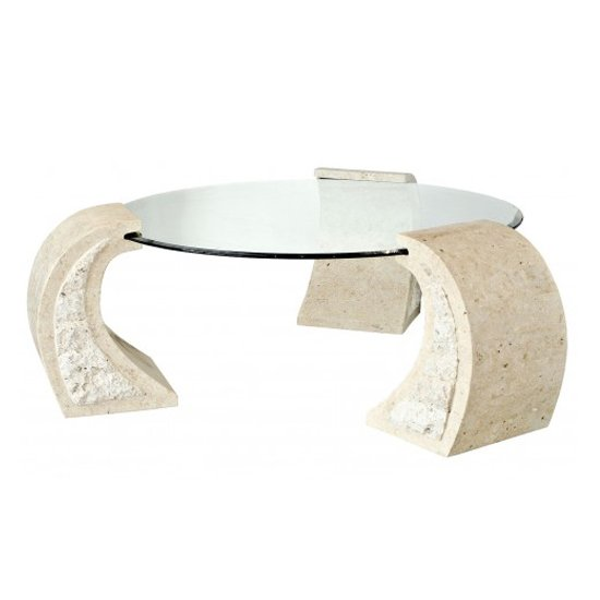 View Poisindon macatan stone coffee table round in clear glass top