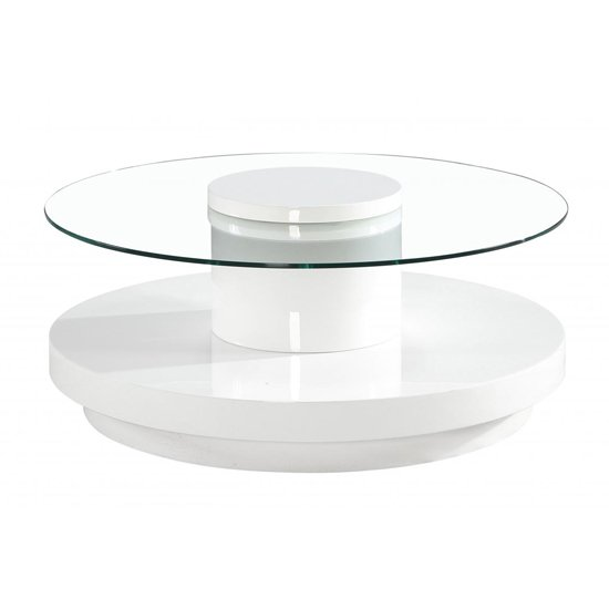 View Nebula round glass coffee table with white high gloss base