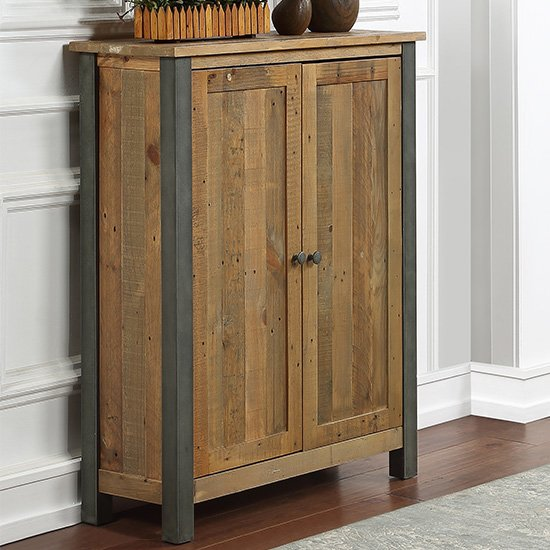 View Nebura small wooden shoe storage cabinet in reclaimed wood