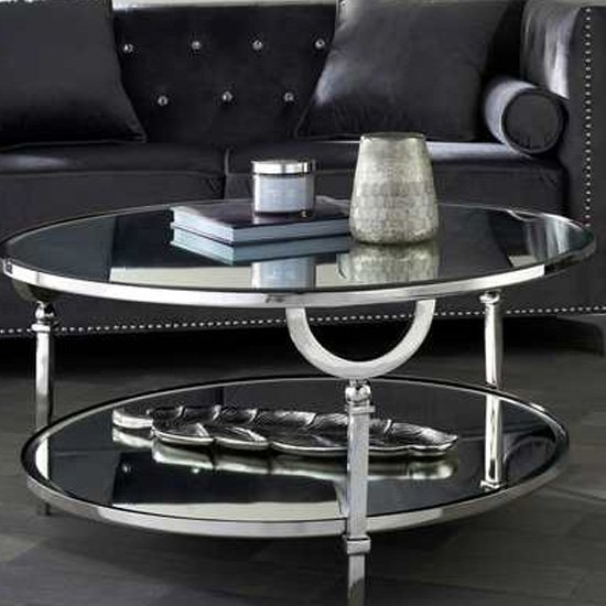 View Nenque mirrored coffee table with nickel frame
