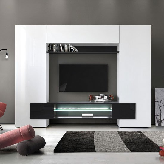 View Nevaeh wall entertainment unit in white and black high gloss