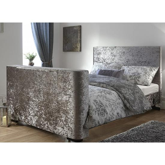 View Newark crushed velvet double electric tv bed in silver