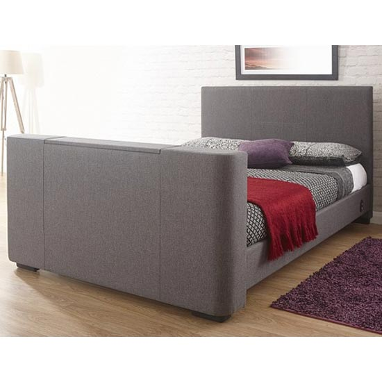 View Newark fabric double electric tv bed in grey