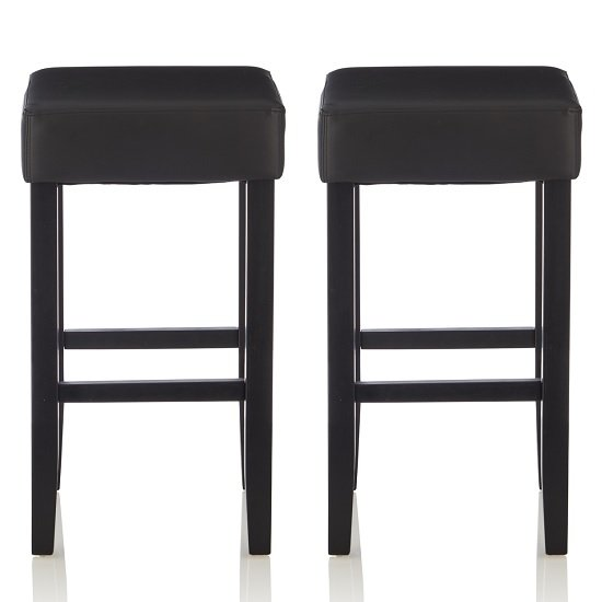 View Newark bar stools in black faux leather in a pair