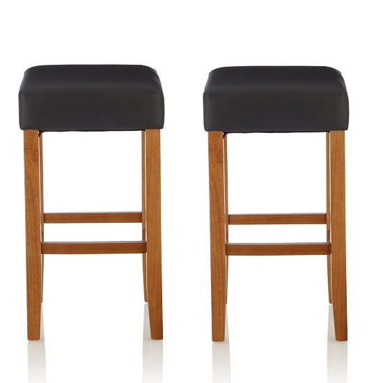 View Newark bar stools in black pu and oak legs in a pair