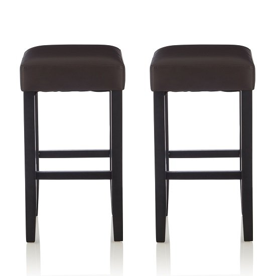 View Newark bar stools in brown pu and black legs in a pair