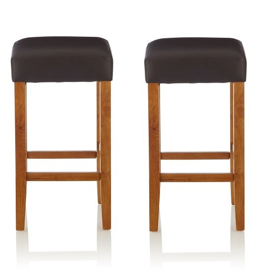 View Newark bar stools in brown pu and oak legs in a pair