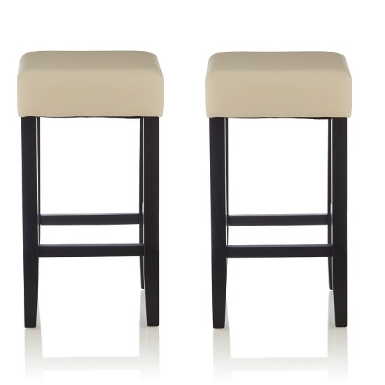 View Newark bar stools in cream pu and black legs in a pair