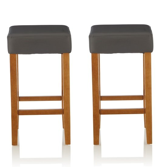 View Newark bar stools in grey pu and oak legs in a pair