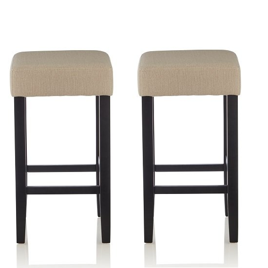 View Newark bar stools in mink fabric and black legs in a pair