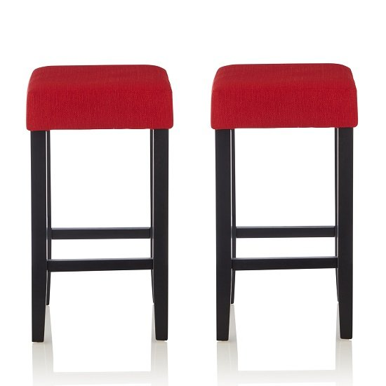View Newark bar stools in red fabric and black legs in a pair