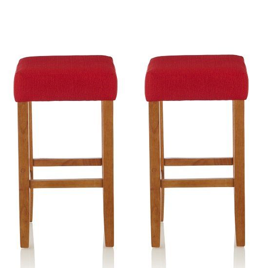 View Newark bar stools in red fabric and oak legs in a pair