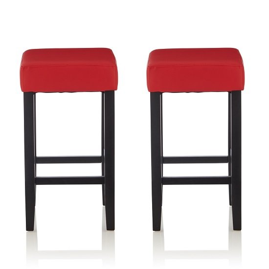 View Newark bar stools in red pu and black legs in a pair