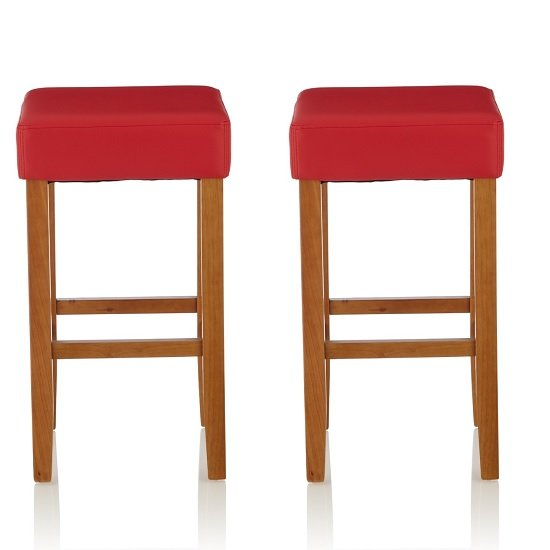 View Newark bar stools in red pu and oak legs in a pair