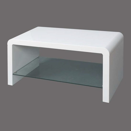 View Norset modern coffee table rectangular in white gloss