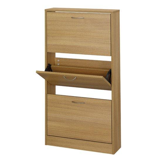 View Nova wooden shoe storage cabinet in oak with 3 doors