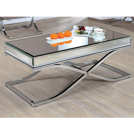 View Nove mirrored wooden coffee table with silver steel legs
