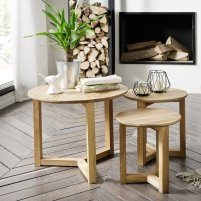 View Olena wooden set of 3 coffee tables in knotty oak