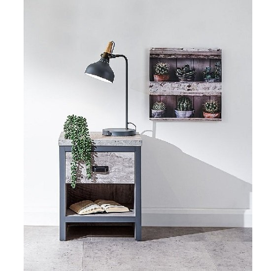 View Olivares lamp table in grey with one drawer
