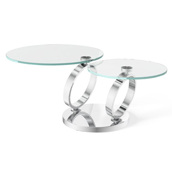 View Olympia swivel extending glass coffee table