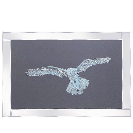 View Optima snowy owl glass wall art in mirrored frame