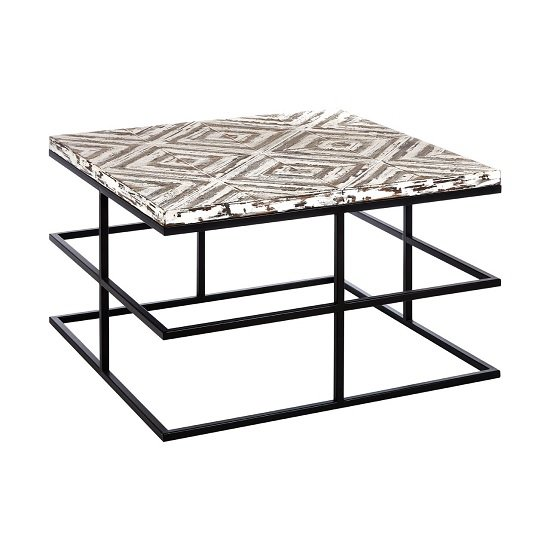 View Orphee wooden coffee table square in white with metal frame