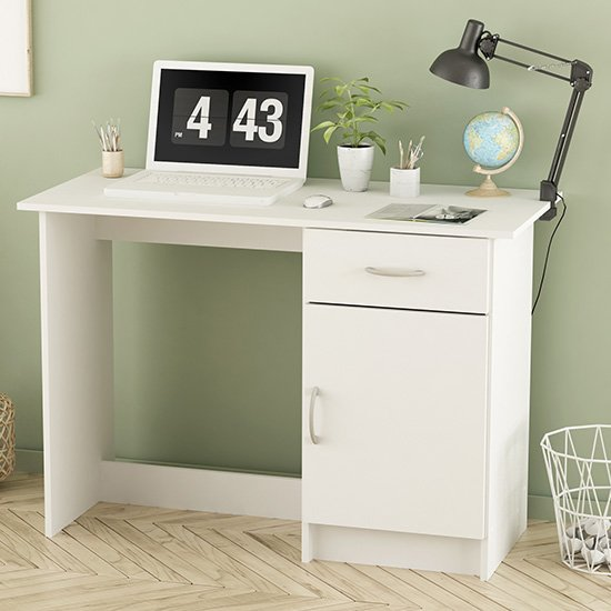 View Osiris wooden laptop desk in matt white with 1 door 1 drawer