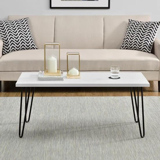 View Owen wooden retro coffee table in white
