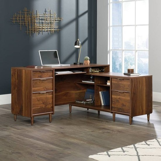 View Palais wooden corner computer desk in walnut
