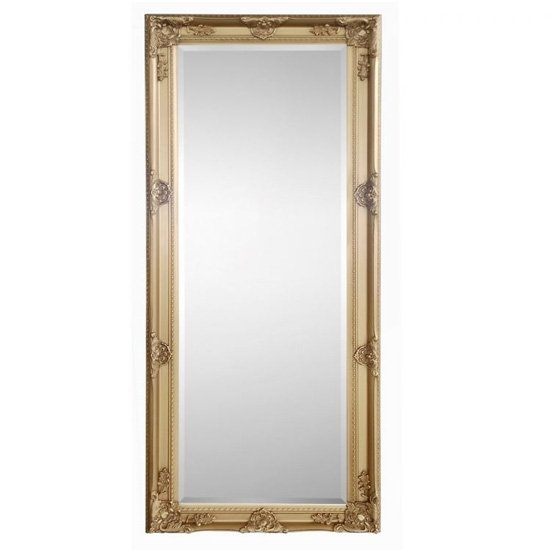 View Palais lean-to dress mirror in golden wooden frame