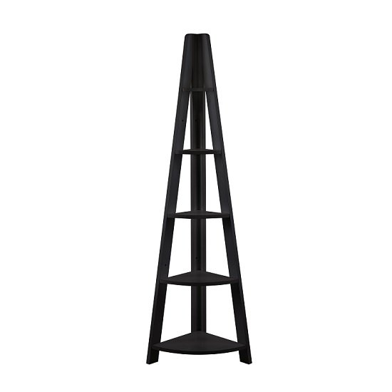 View Paltrow corner shelving unit in black with ladder style