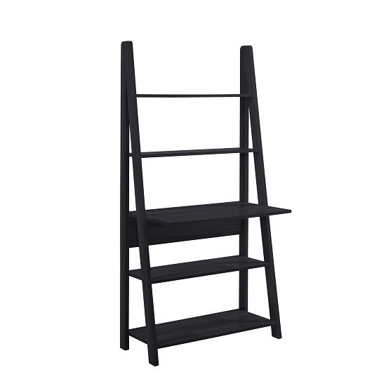 View Paltrow computer desk in black with ladder style and shelving