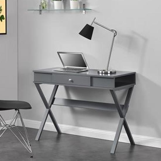 View Paxton wooden laptop desk in grey