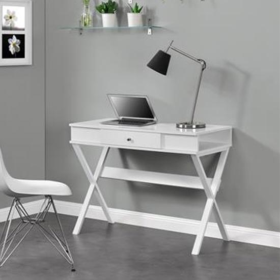 View Paxton wooden laptop desk in white