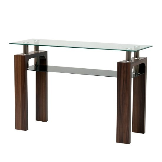 View Tetro glass console table rectangular in clear with walnut legs