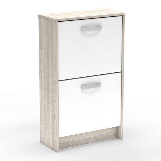 View Phad wooden shoe storage cabinet in shannon oak and pearl white