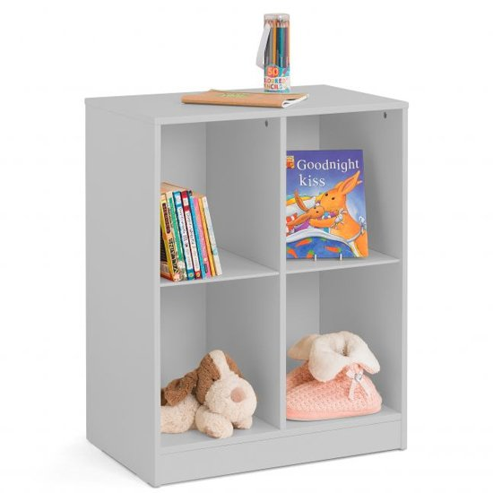 View Pluto wooden cube bookcase in dove grey