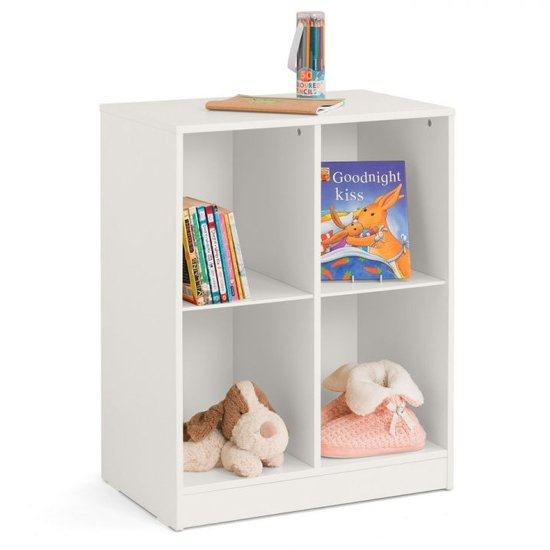 View Pluto wooden cube bookcase in stone white