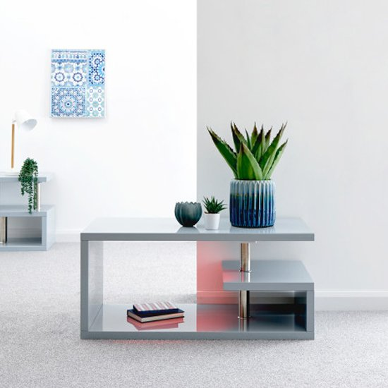 View Point coffee table in grey high gloss with led lighting