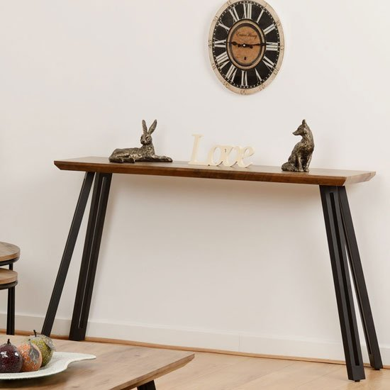 View Quebec wooden straight edge console table in medium oak effect
