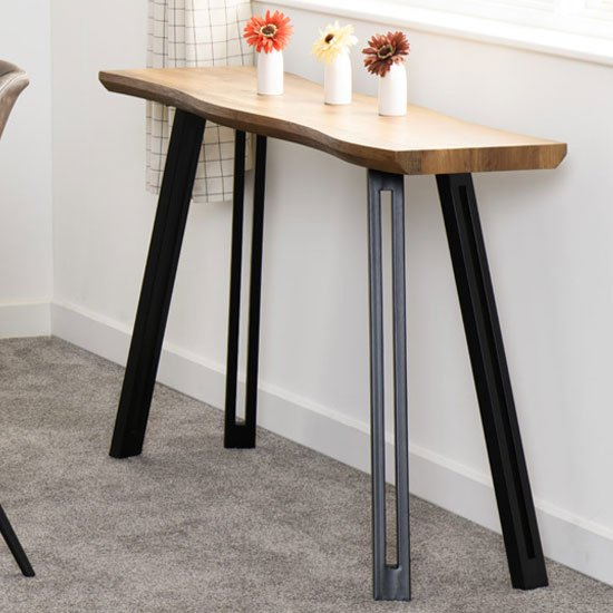 View Quebec wooden wave edge console table in medium oak effect