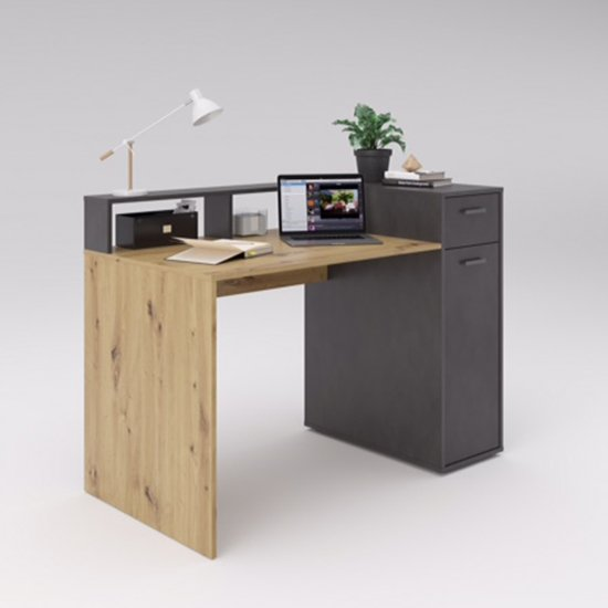 View Quebec2 wooden computer desk in artisan oak and matera
