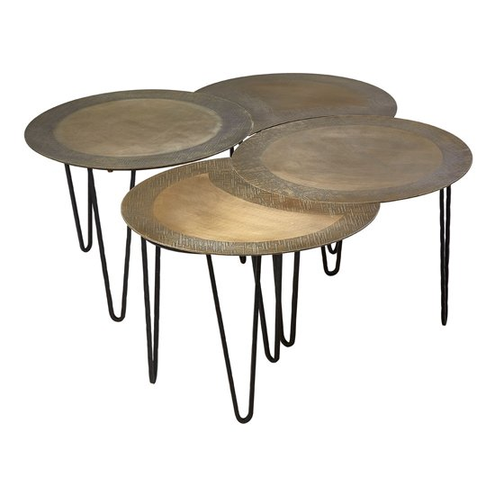 View Menkent set of 4 coffee tables in brass