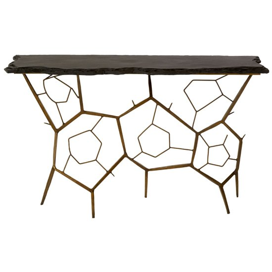 View Menkent stone top console table in black